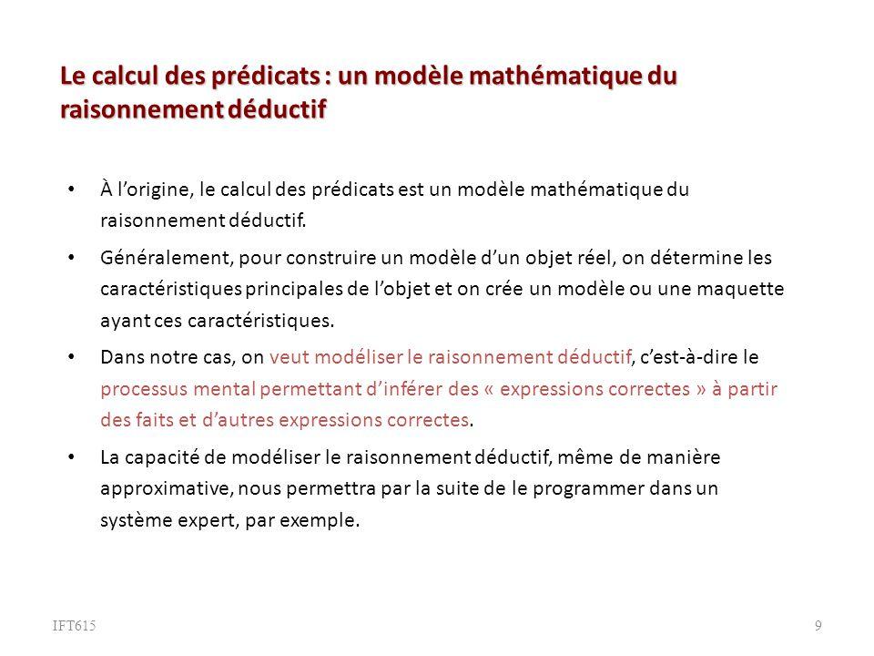 Le calcul des prédicats : un modèle mathématique du raisonnement déductif