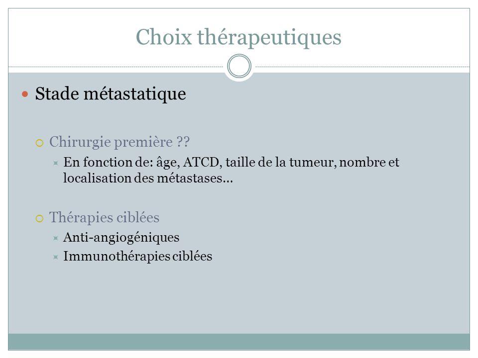 Choix thérapeutiques Stade métastatique Chirurgie première
