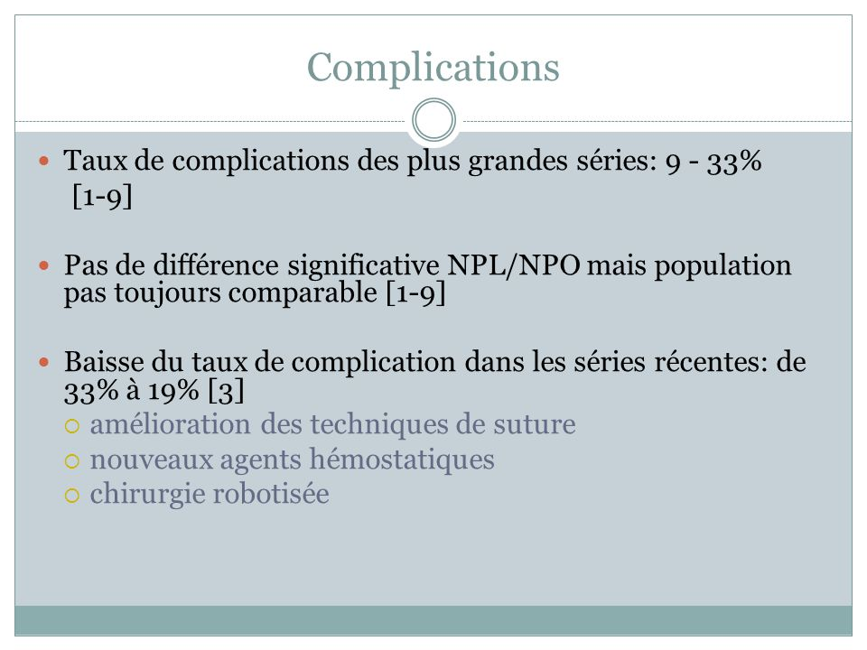 Complications Taux de complications des plus grandes séries: 9 - 33%