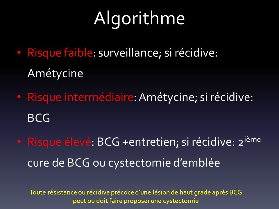 Algorithme Risque faible: surveillance; si récidive: Amétycine