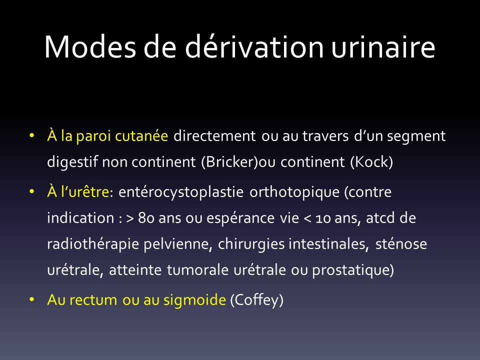 Modes de dérivation urinaire