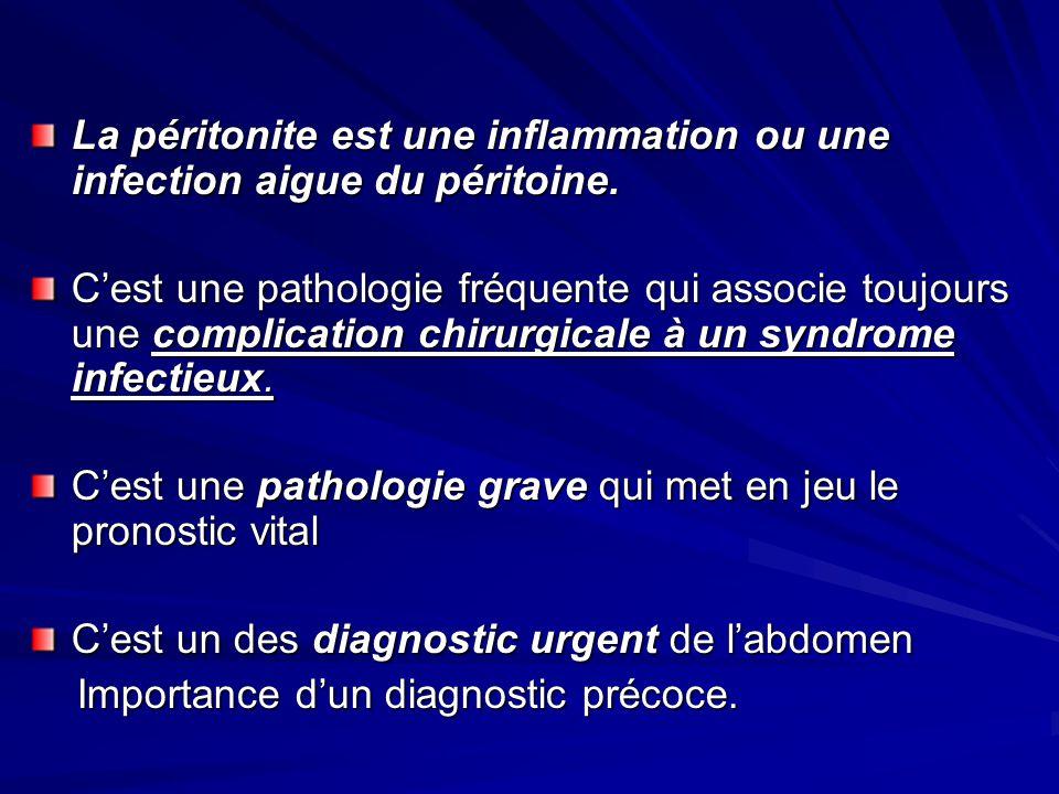 La péritonite est une inflammation ou une infection aigue du péritoine.