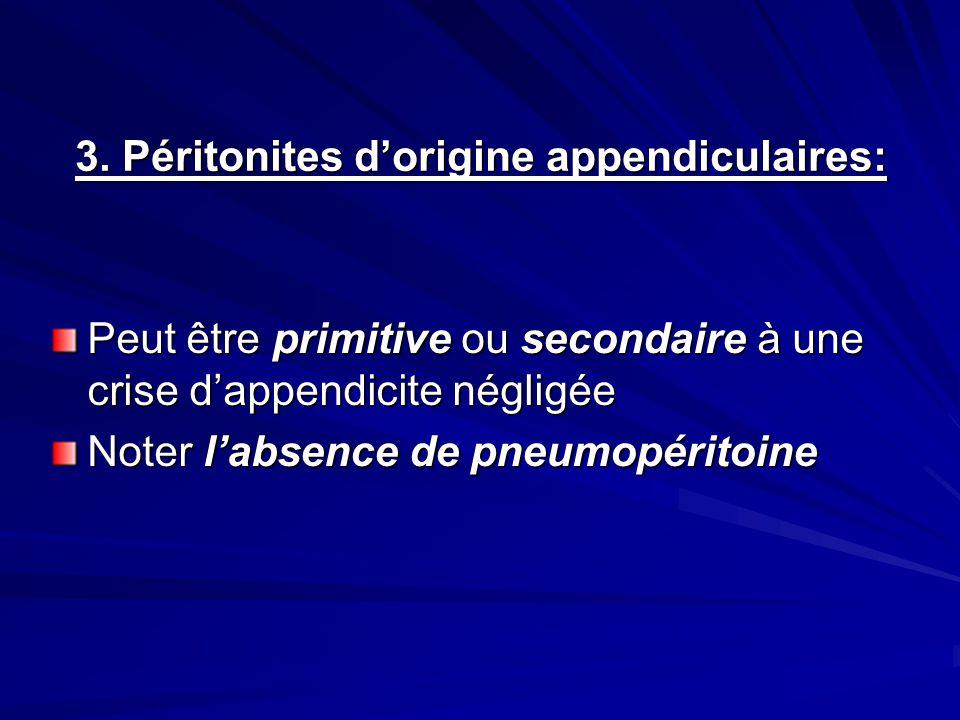 3. Péritonites d'origine appendiculaires: