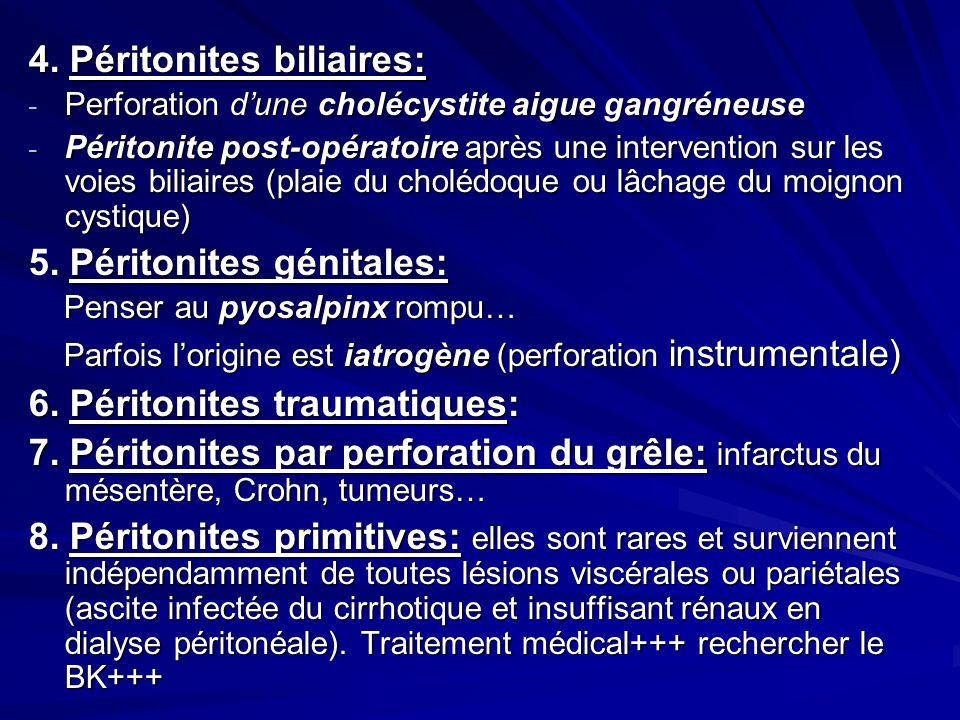 4. Péritonites biliaires: