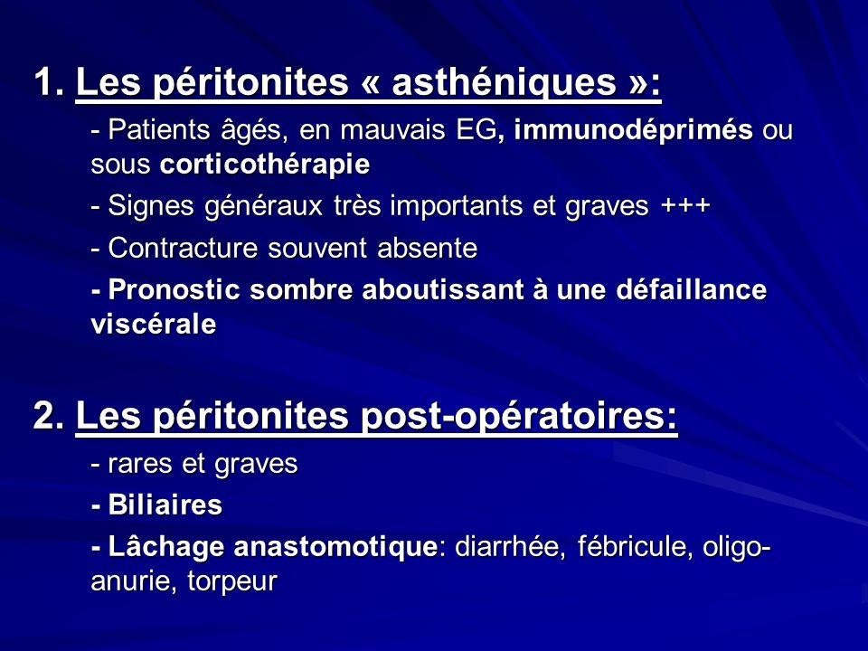 1. Les péritonites « asthéniques »: