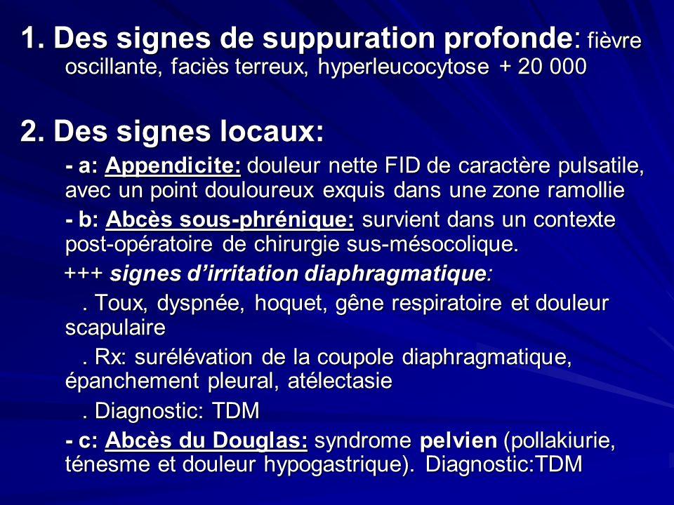 1. Des signes de suppuration profonde: fièvre oscillante, faciès terreux, hyperleucocytose + 20 000