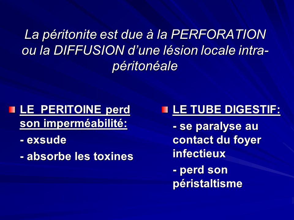 La péritonite est due à la PERFORATION ou la DIFFUSION d'une lésion locale intra-péritonéale