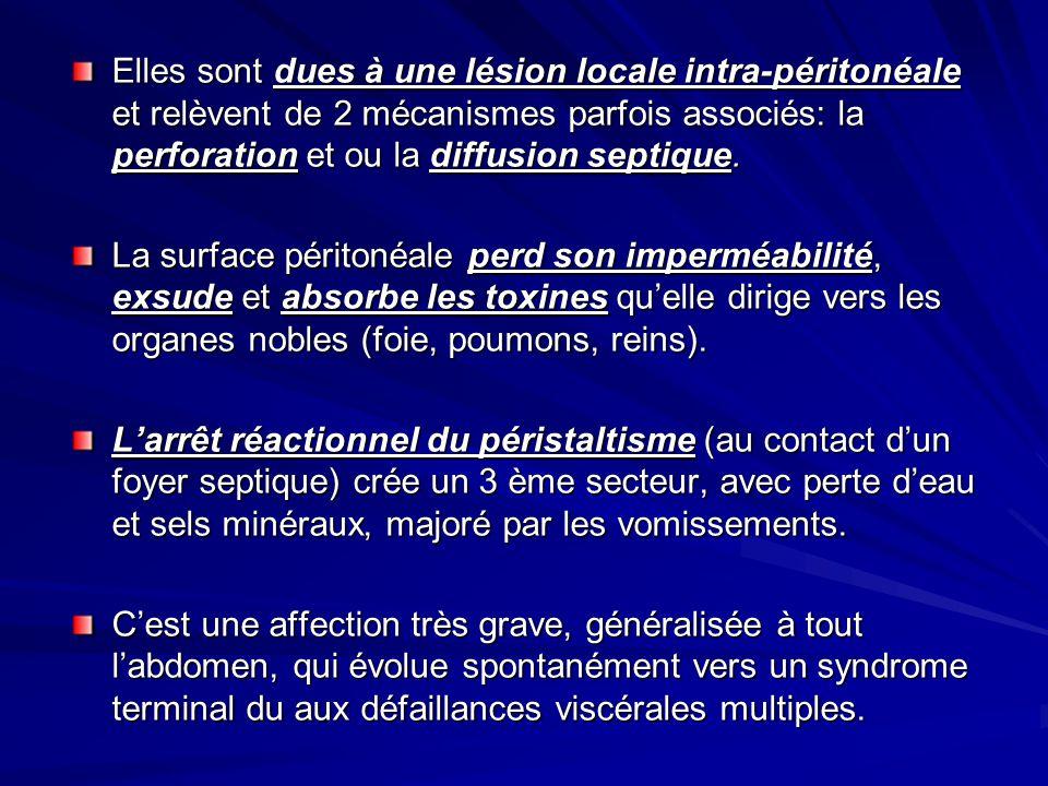 Elles sont dues à une lésion locale intra-péritonéale et relèvent de 2 mécanismes parfois associés: la perforation et ou la diffusion septique.