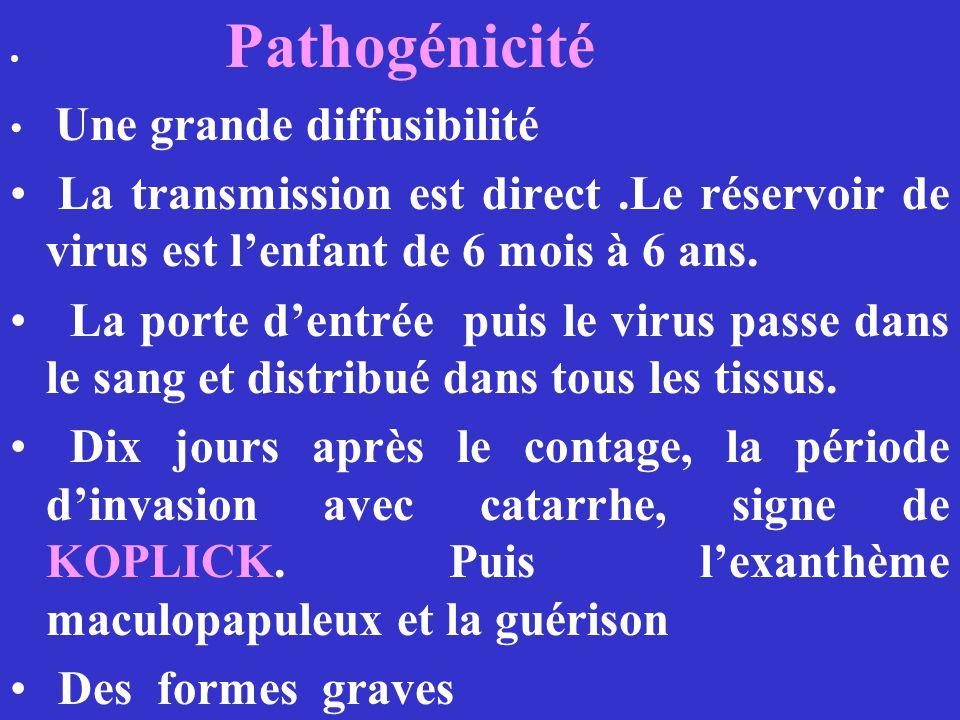 Pathogénicité Une grande diffusibilité. La transmission est direct .Le réservoir de virus est l'enfant de 6 mois à 6 ans.