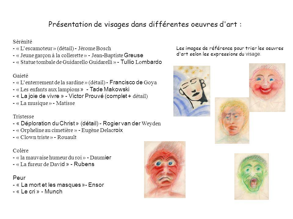 Présentation de visages dans différentes oeuvres d art :