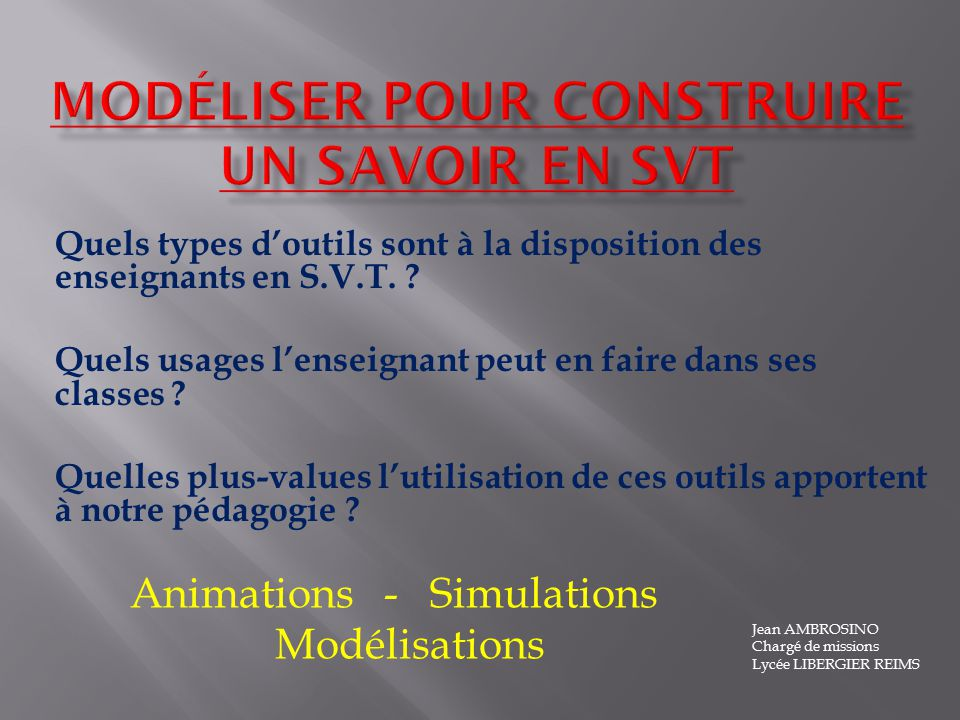 Modéliser pour construire un savoir en SVT