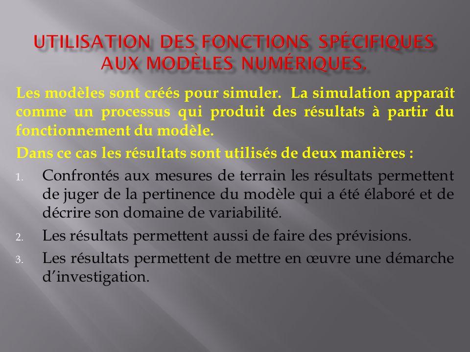 Utilisation des fonctions spécifiques aux modèles numériques.