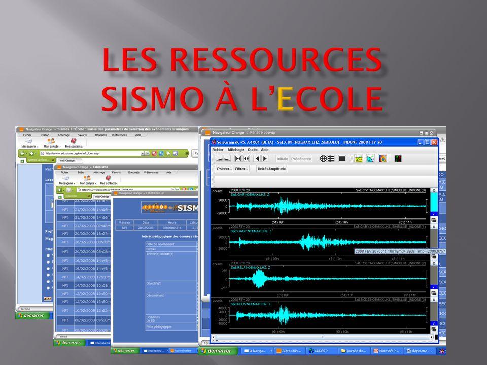 Les ressources sismo à l'Ecole
