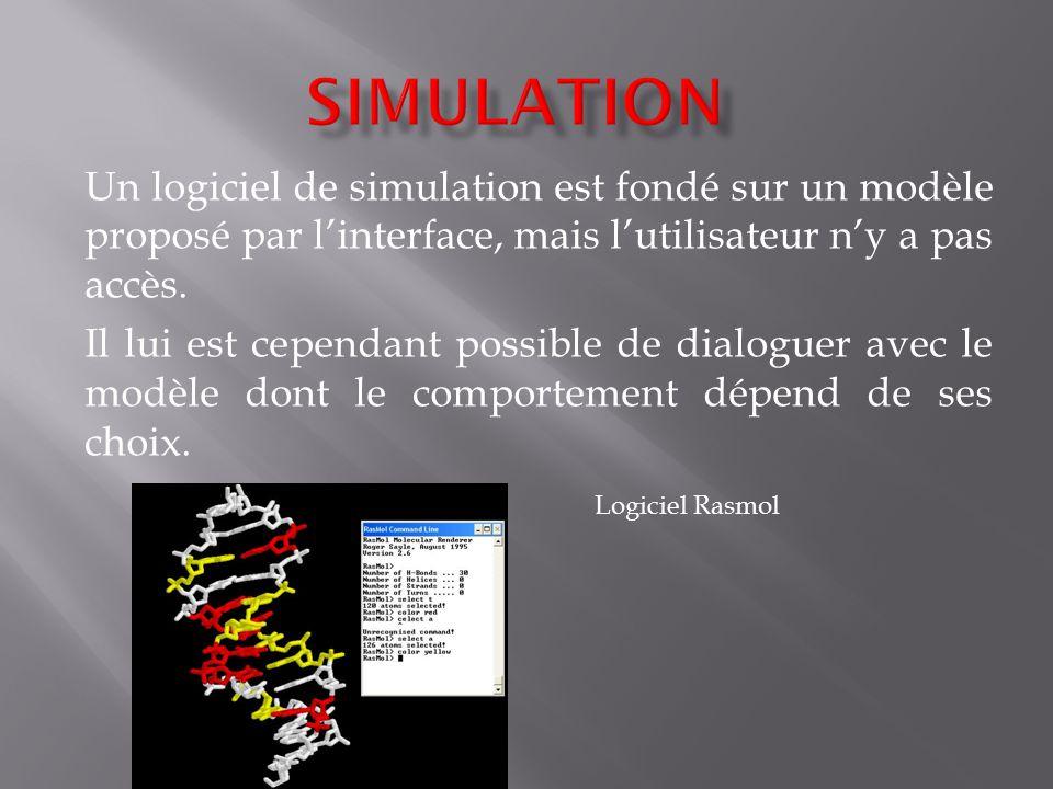 Simulation Un logiciel de simulation est fondé sur un modèle proposé par l'interface, mais l'utilisateur n'y a pas accès.