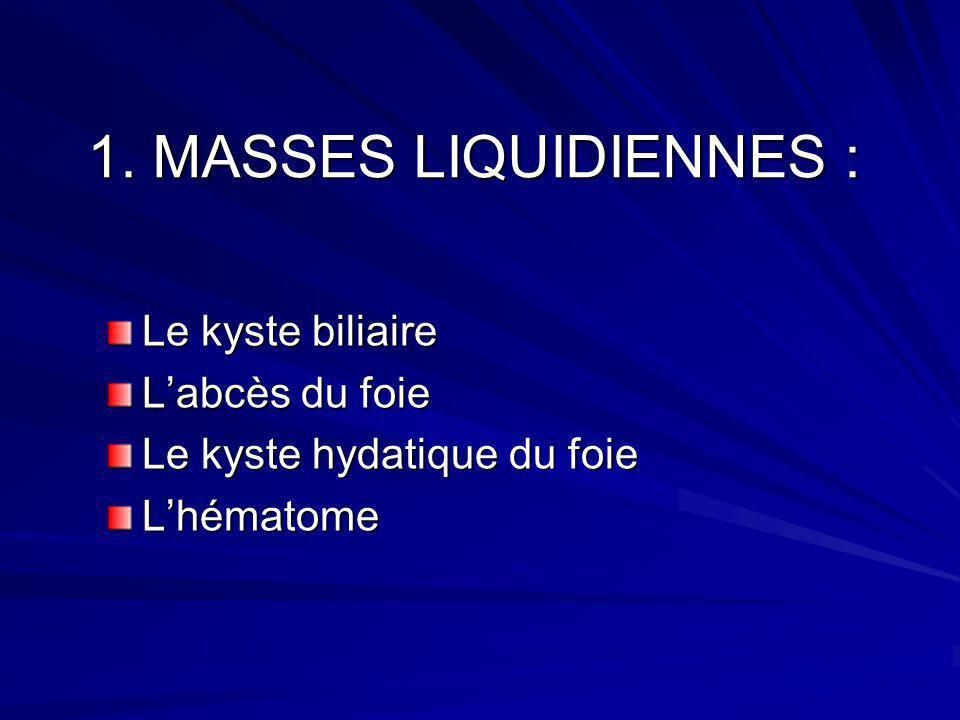 1. MASSES LIQUIDIENNES : Le kyste biliaire L'abcès du foie