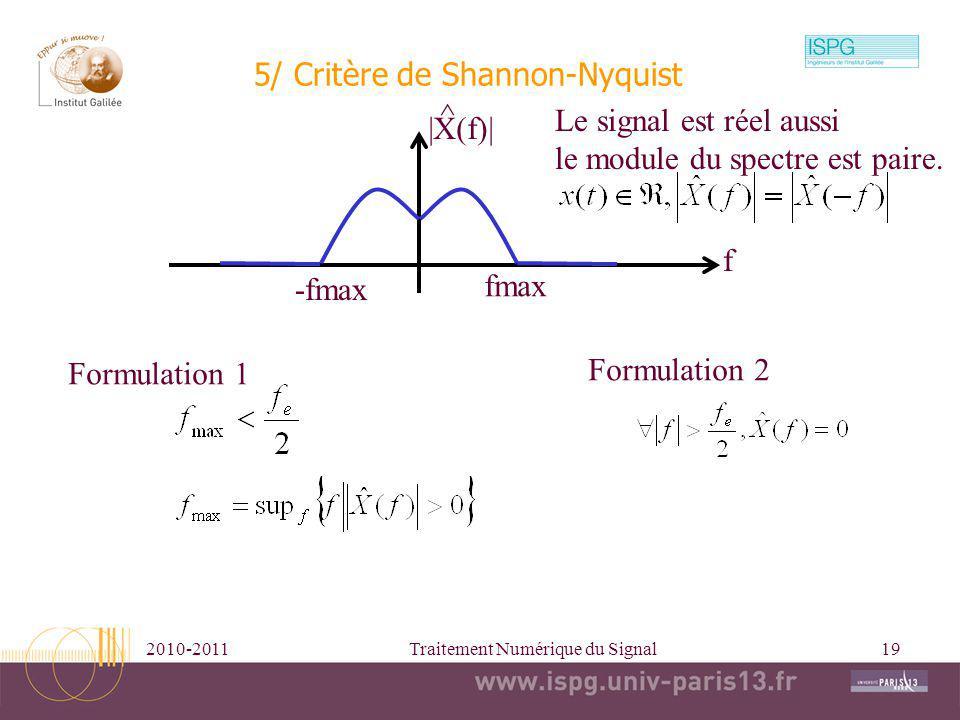 5/ Critère de Shannon-Nyquist