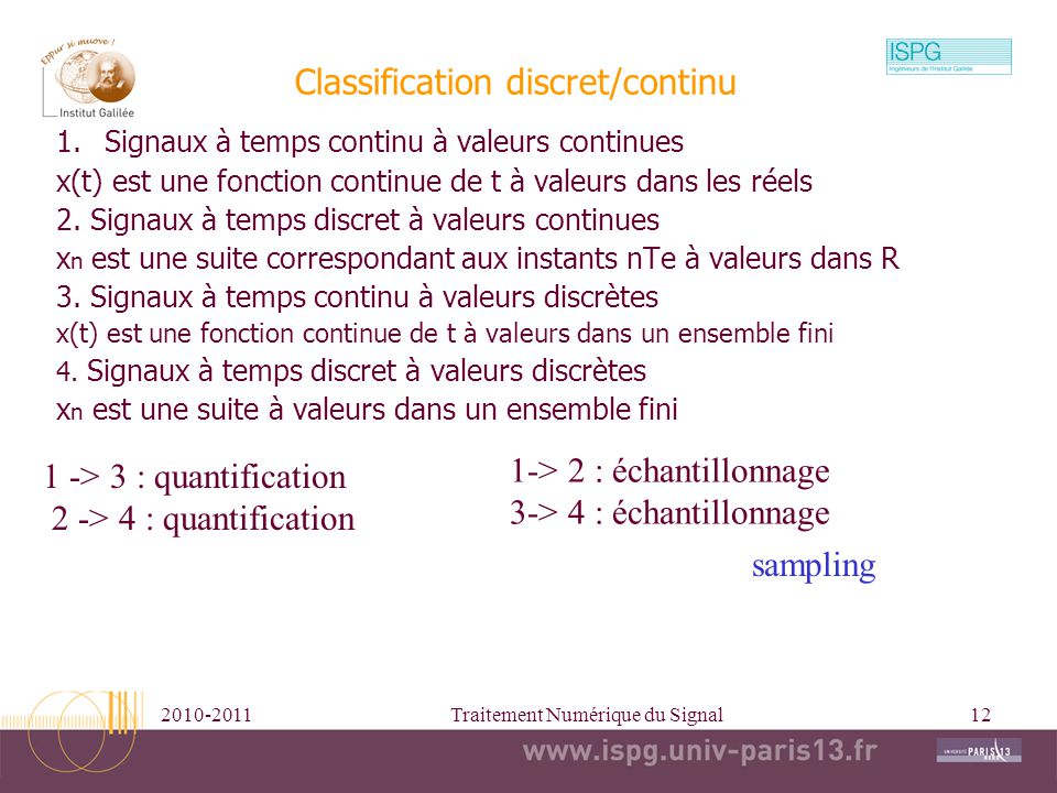Classification discret/continu