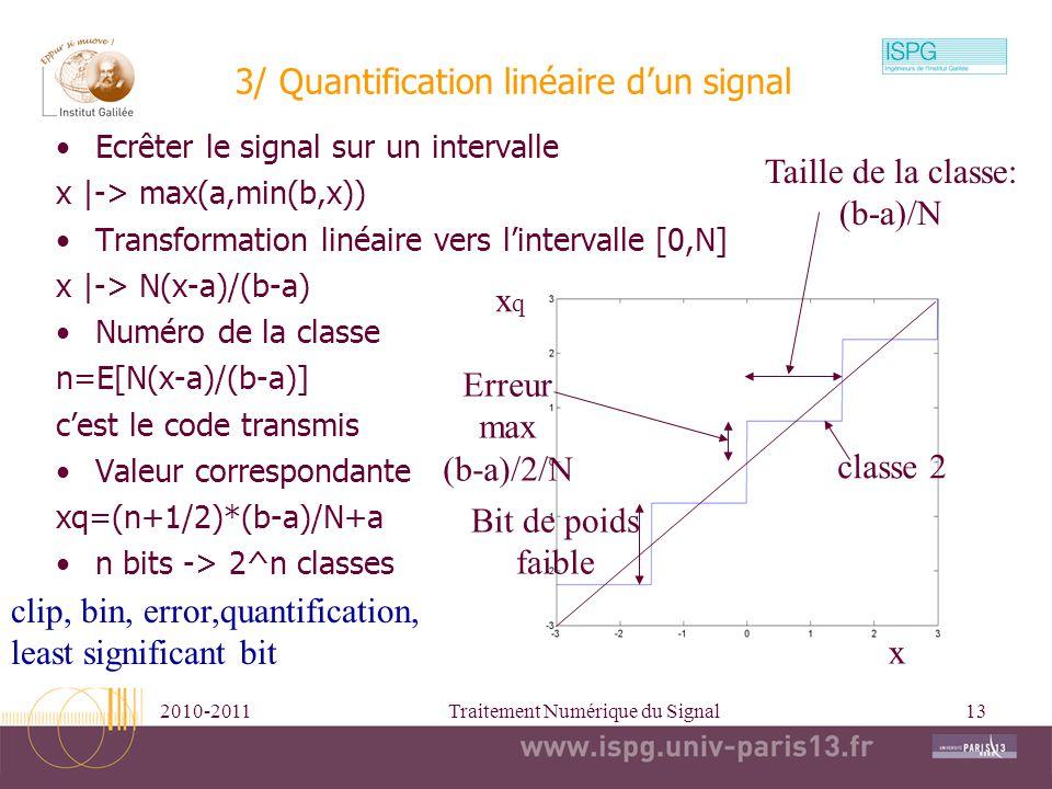 3/ Quantification linéaire d'un signal