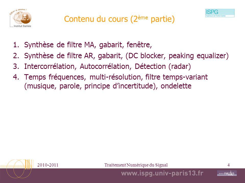 Contenu du cours (2ème partie)