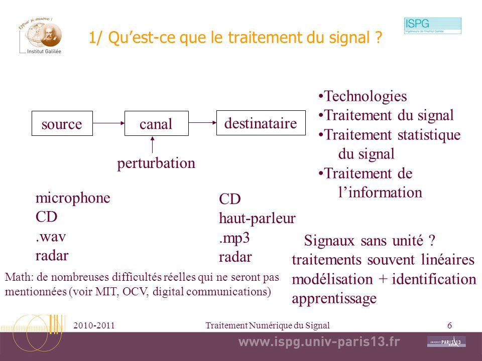 1/ Qu'est-ce que le traitement du signal