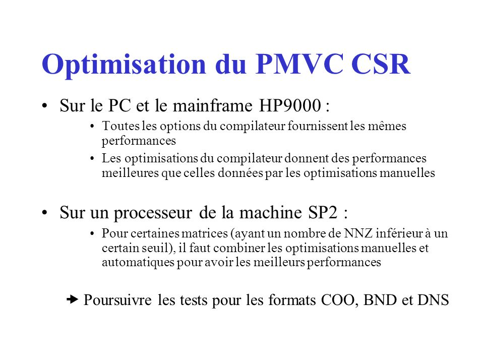 Optimisation du PMVC CSR