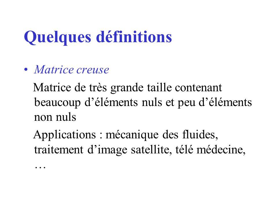 Quelques définitions Matrice creuse