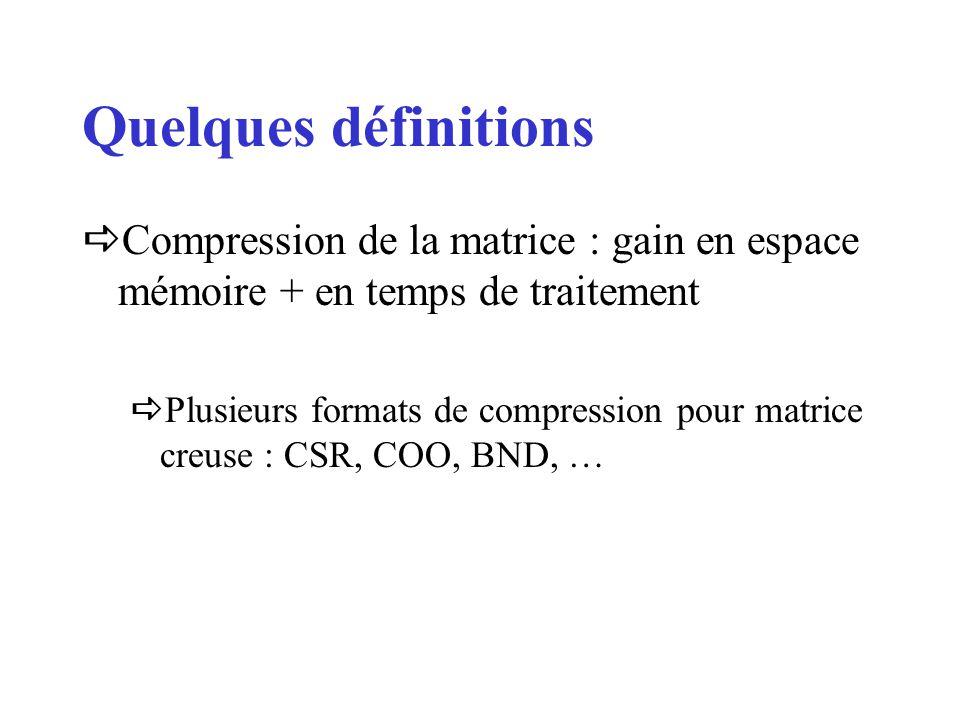 Quelques définitions Compression de la matrice : gain en espace mémoire + en temps de traitement.