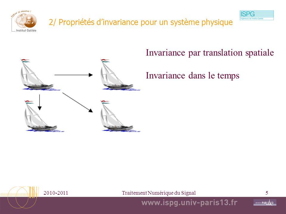 2/ Propriétés d'invariance pour un système physique