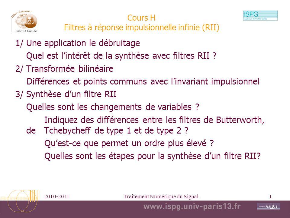 Cours H Filtres à réponse impulsionnelle infinie (RII)