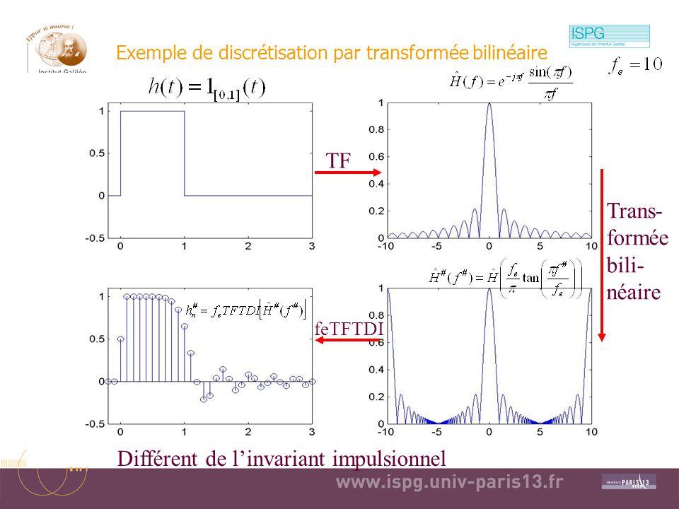 Exemple de discrétisation par transformée bilinéaire