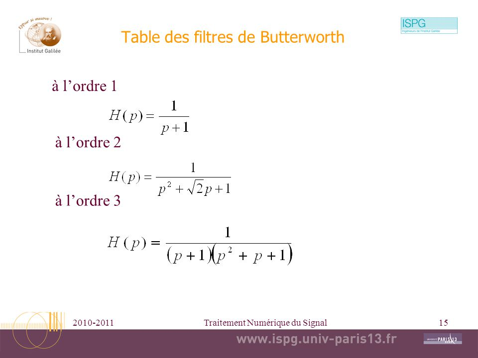 Table des filtres de Butterworth