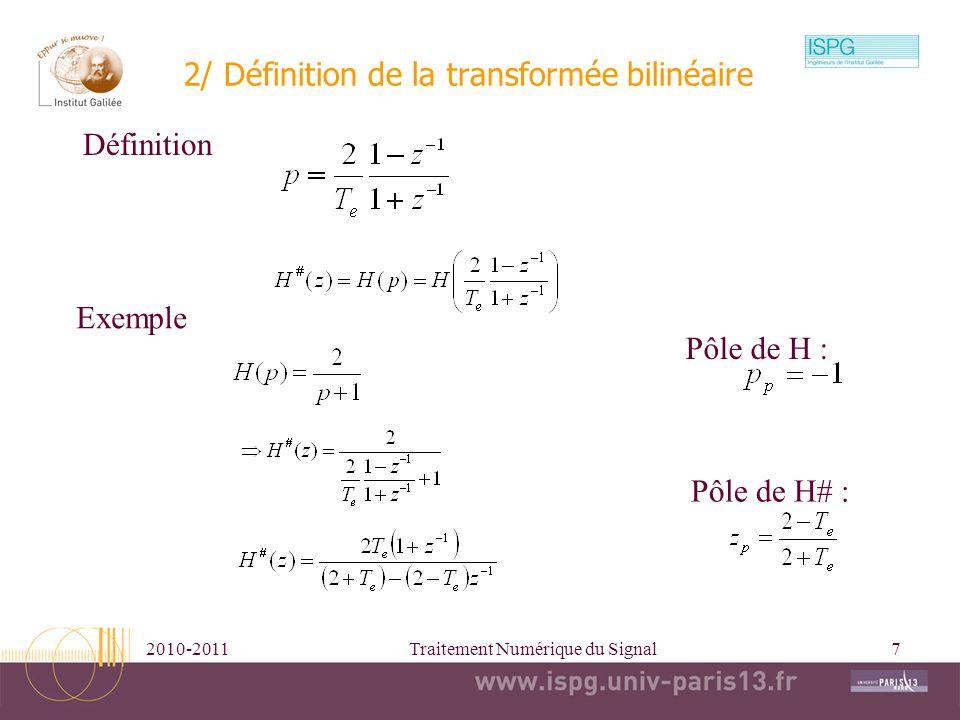 2/ Définition de la transformée bilinéaire