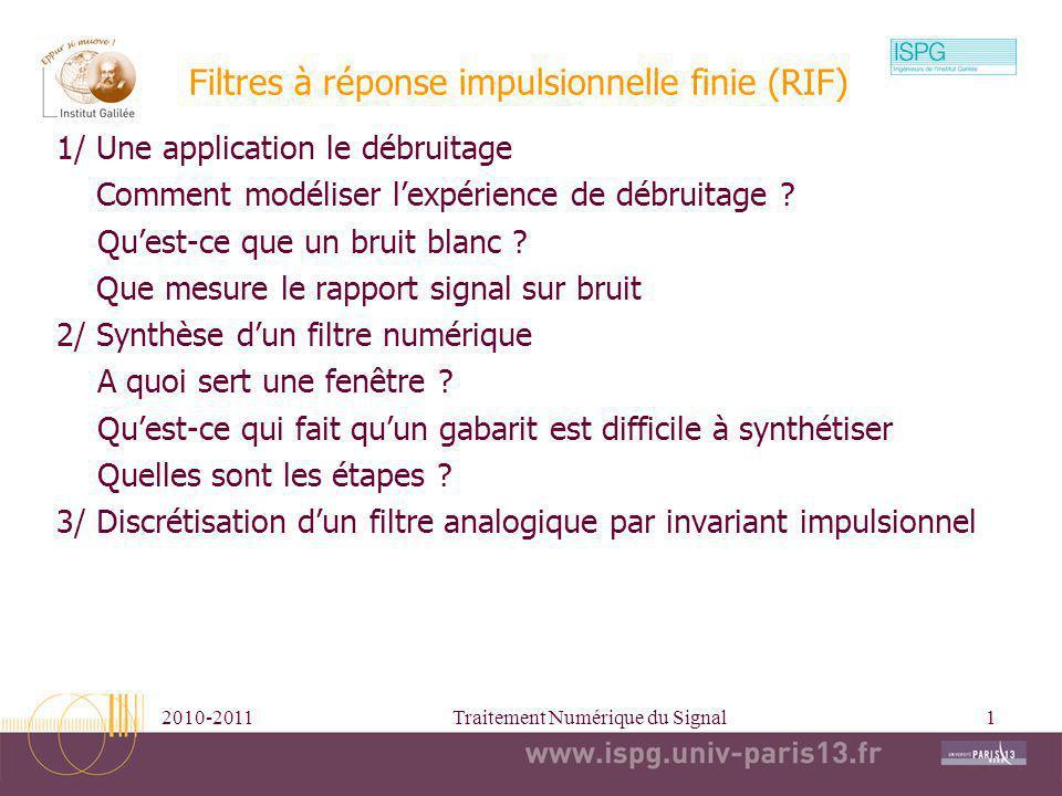 Filtres à réponse impulsionnelle finie (RIF)