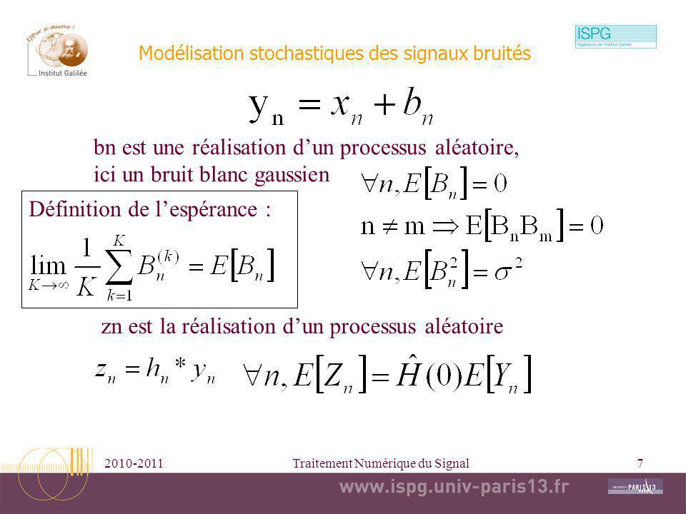 Modélisation stochastiques des signaux bruités