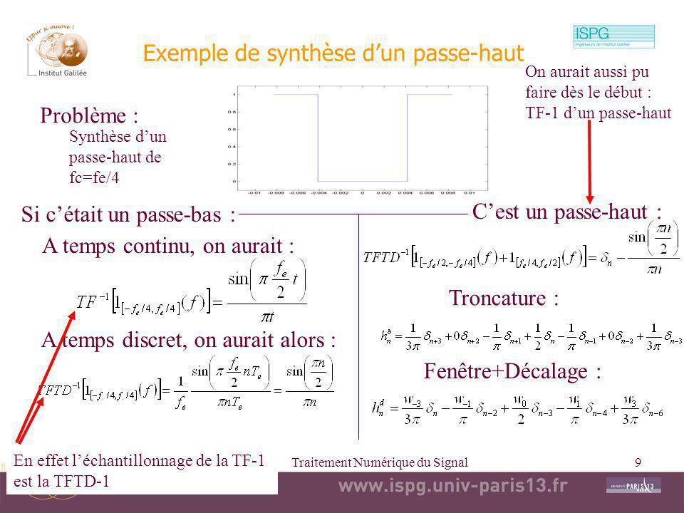 Exemple de synthèse d'un passe-haut