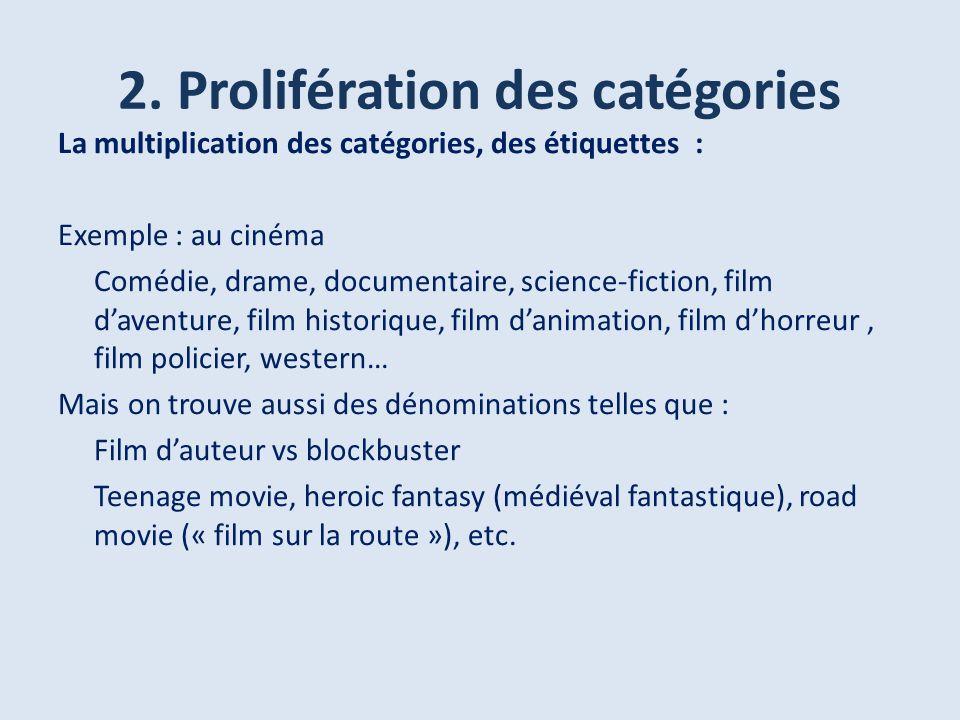 2. Prolifération des catégories