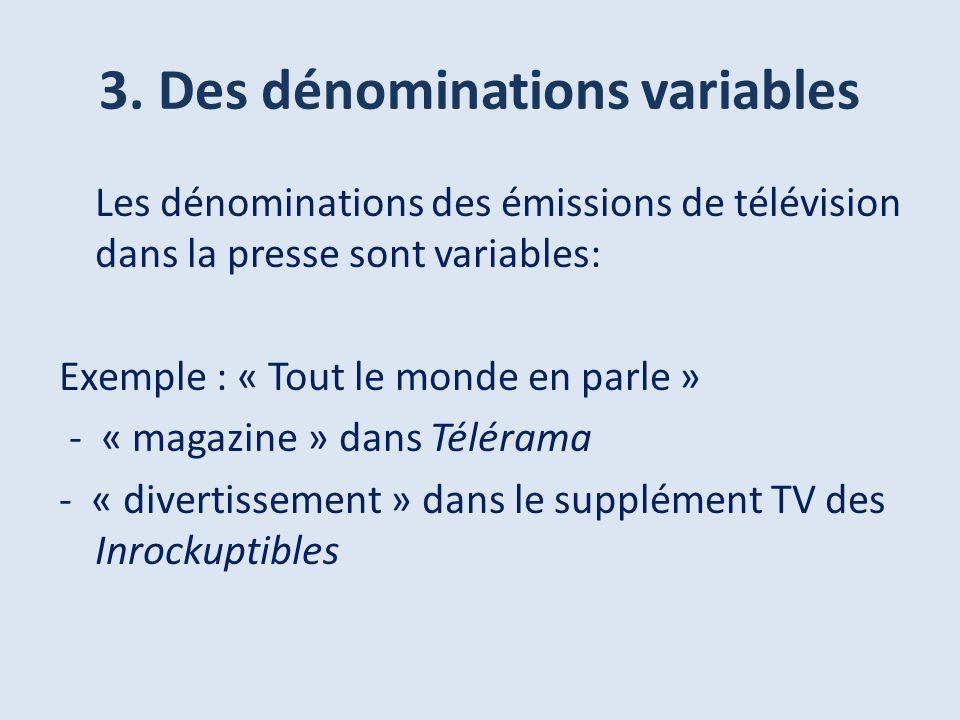 3. Des dénominations variables