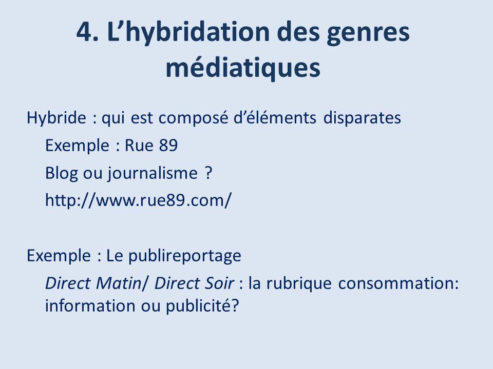 4. L'hybridation des genres médiatiques