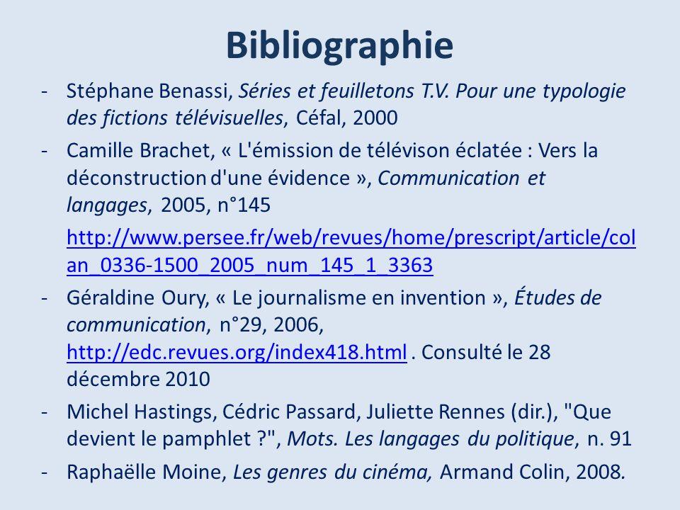 Bibliographie Stéphane Benassi, Séries et feuilletons T.V. Pour une typologie des fictions télévisuelles, Céfal, 2000.