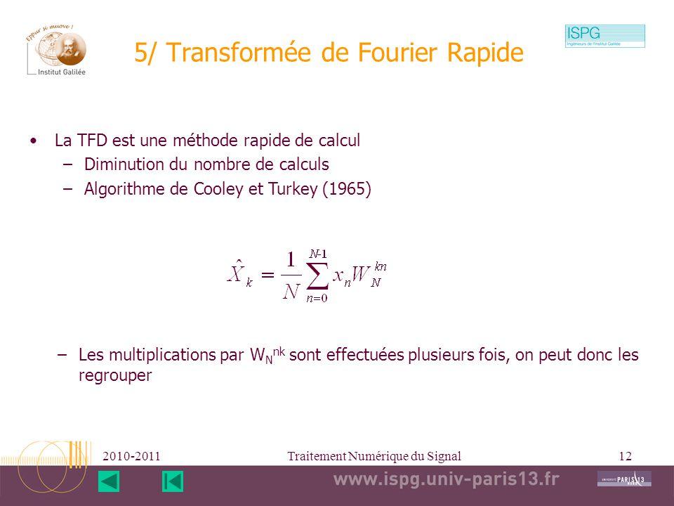 5/ Transformée de Fourier Rapide