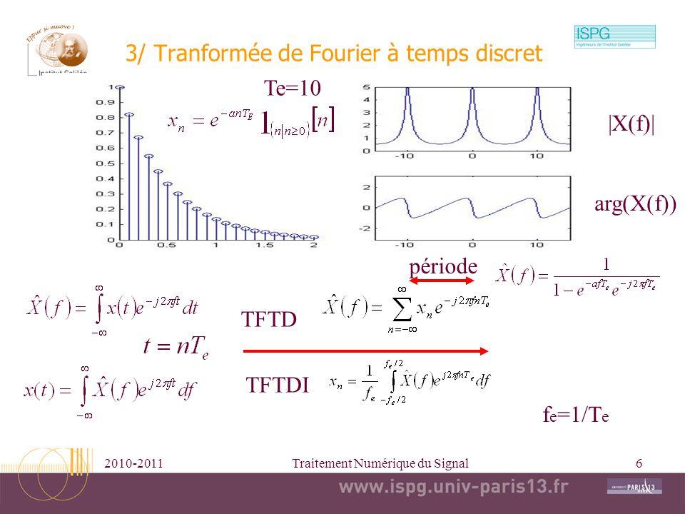3/ Tranformée de Fourier à temps discret