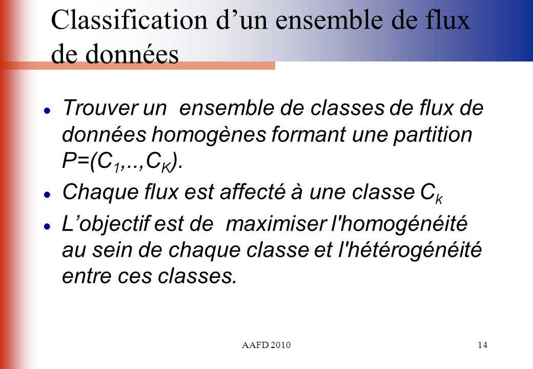 Classification d'un ensemble de flux de données