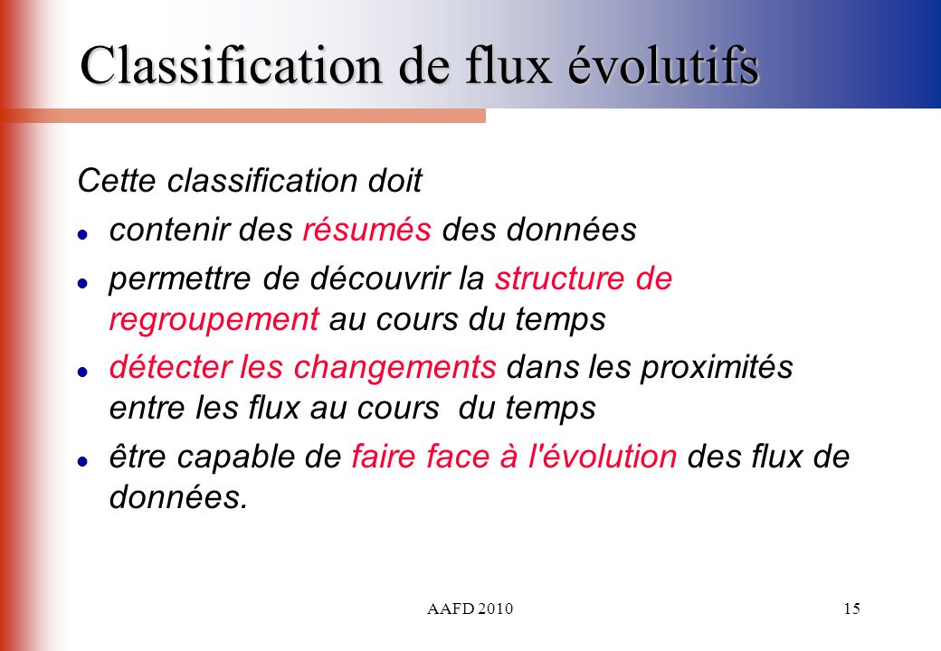 Classification de flux évolutifs