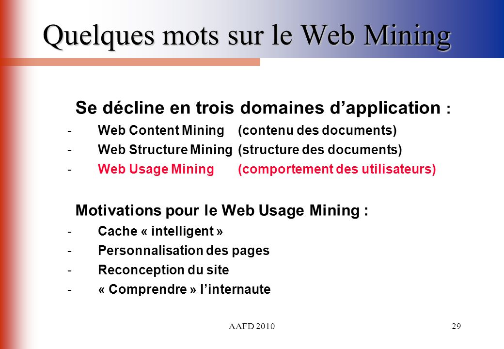 Quelques mots sur le Web Mining