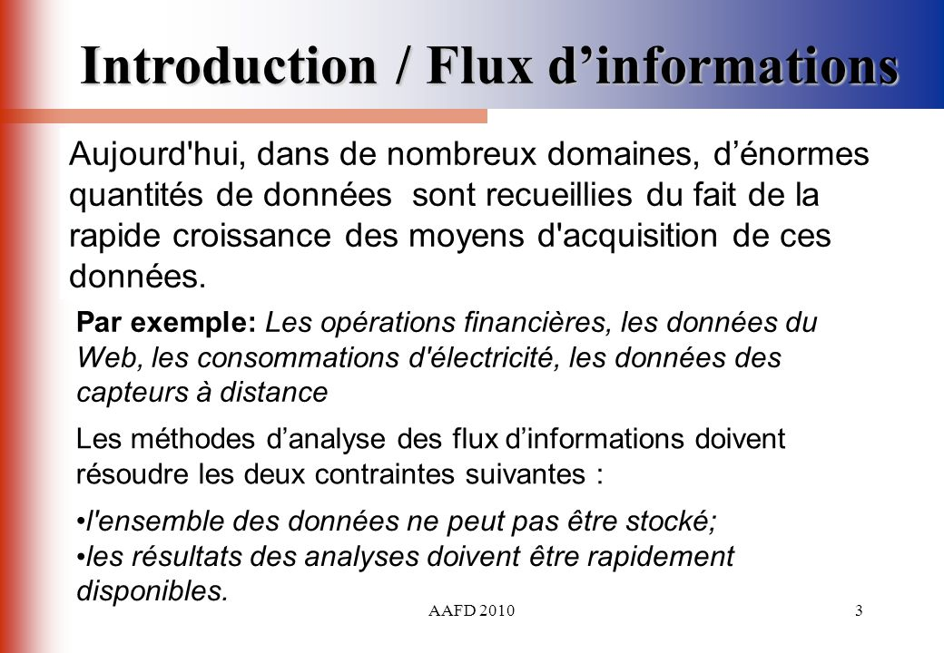 Introduction / Flux d'informations