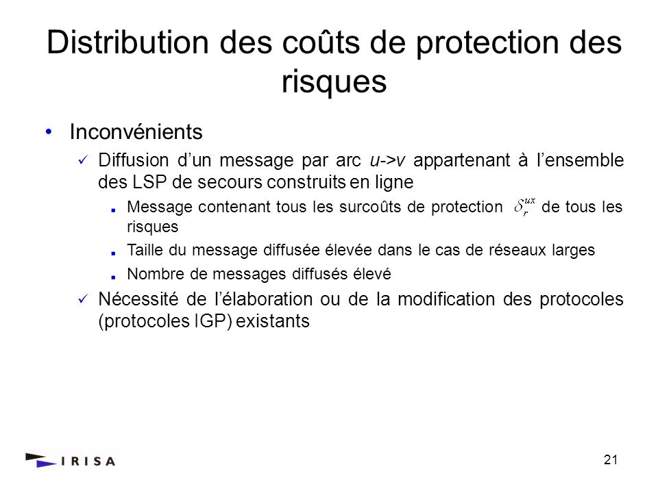 Distribution des coûts de protection des risques