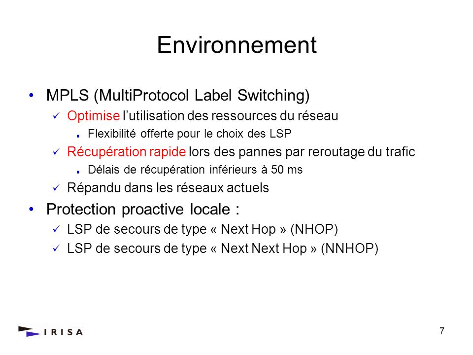 Environnement MPLS (MultiProtocol Label Switching)