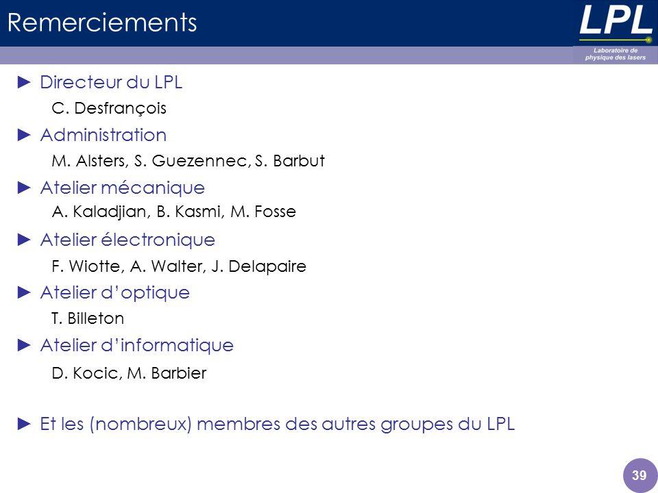 Remerciements Directeur du LPL Administration Atelier mécanique