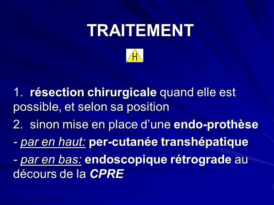 TRAITEMENT 1. résection chirurgicale quand elle est possible, et selon sa position. 2. sinon mise en place d'une endo-prothèse.