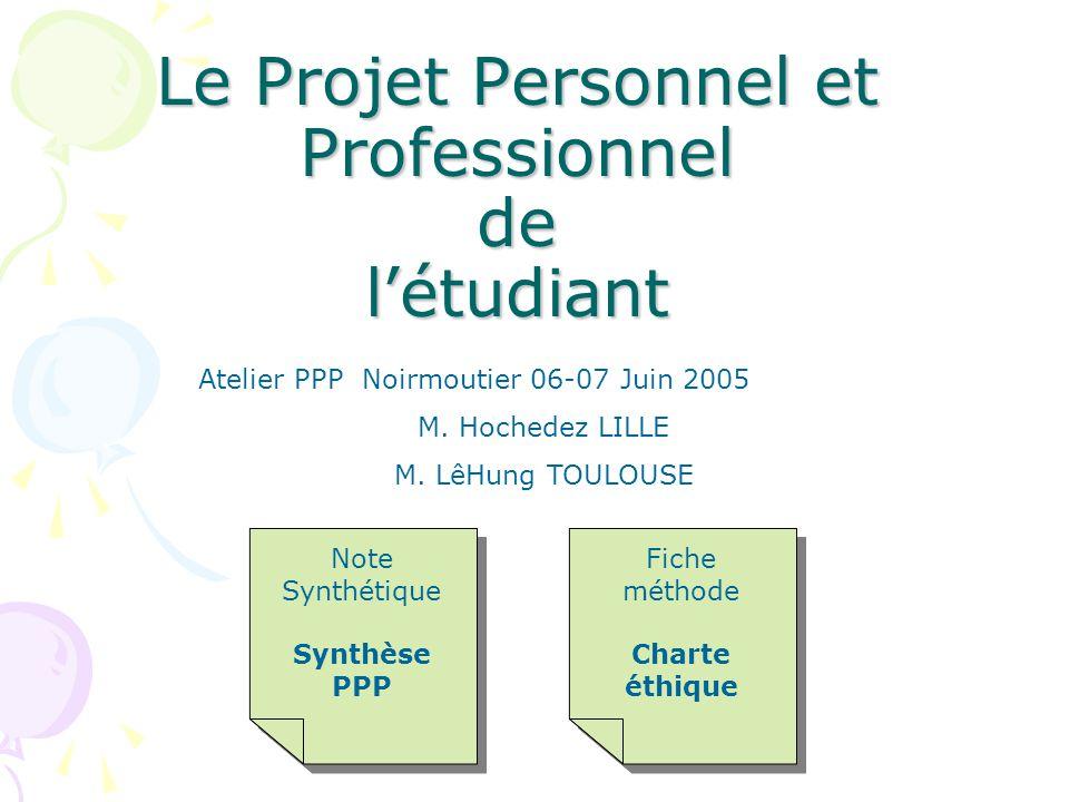 Le Projet Personnel et Professionnel de l'étudiant